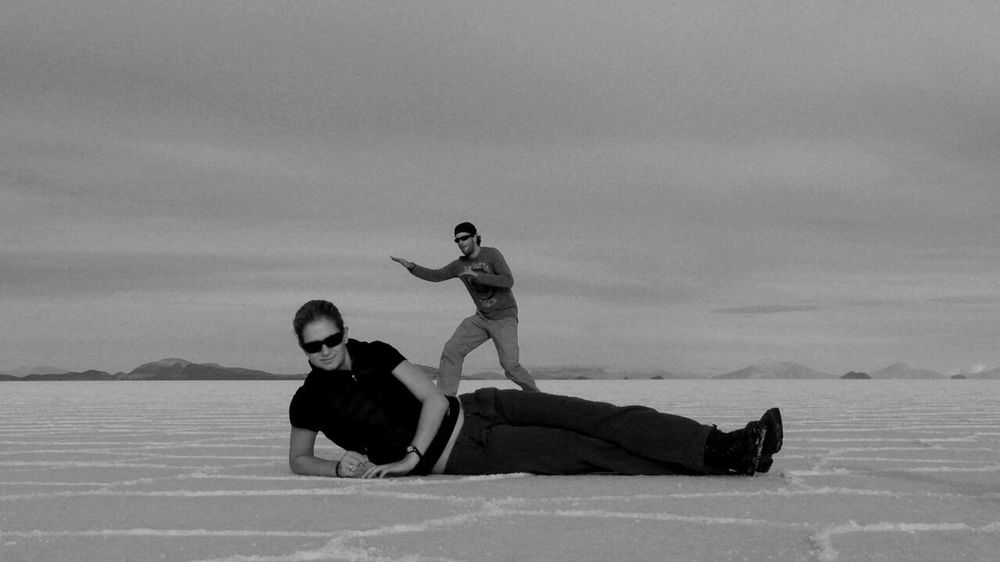 My entry for the Bnw_friday_eyeemchallenge. Sweet Memories of our world trip some time ago. EyeEm Best Shots - People + Portrait EyeEm Best Shots - Black + White Fortheloveofblackandwhite NEM Black&white RePicture Friendship Monochrome That's Me in Salar De Uyuni