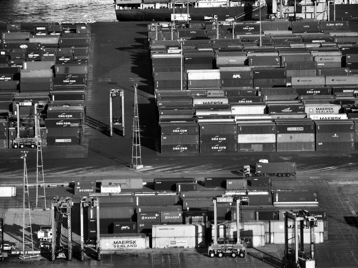 High angle view of cargo containers