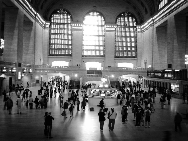 Manhattan New York City New York America United States United States Of America Central Station Trainstation Urbanexploration Built Structure Architecture Modern City Life Large Group Of People Indoors  Railroad Station People Passenger Tourism Black & White History
