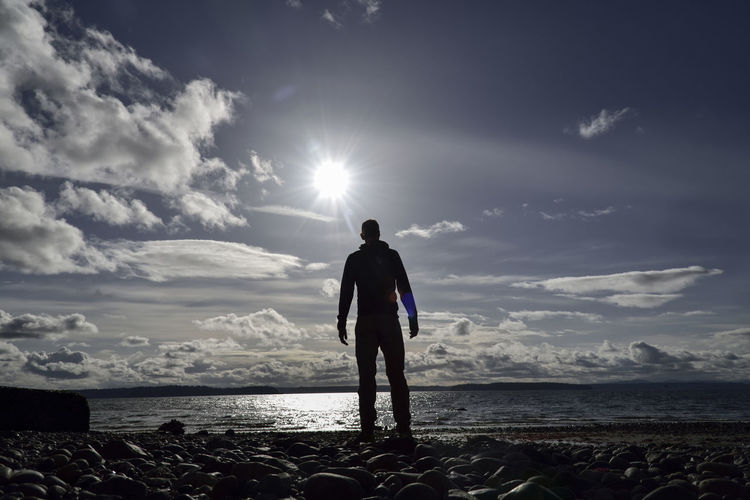 Silhouette man standing on shore against sky during sunny day