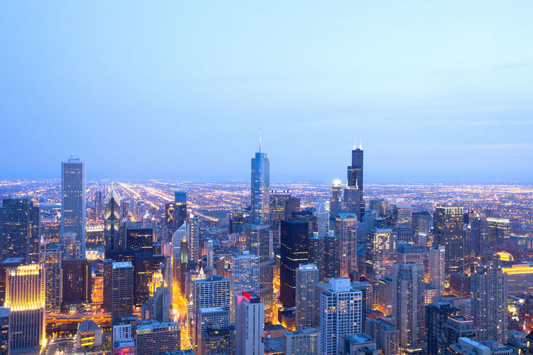 Aerial view of downtown Chicago, Illinois Chicago City Downtown Illinois Magnificent Mile Skyline Skyscrapers United States Aerial View Architecture Building Exterior City Cityscape Illuminated Modern Night Skyscraper The Loop Urban Skyline