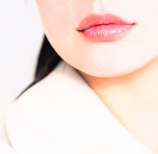 Midsection Of Woman In Pink Lipstick