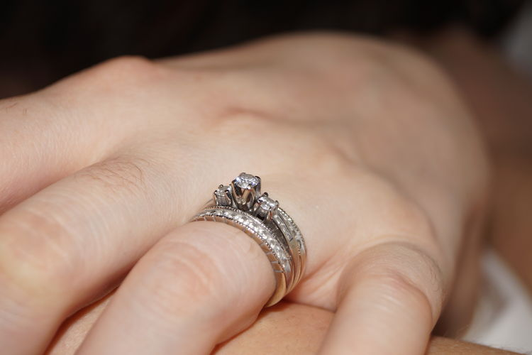 Cropped Image Of Hand Wearing Wedding Ring
