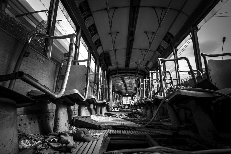 Abandoned Black And White Blackandwhite Day Dead Death Death & Decay Degradation Indoors  Industrial No People Rest In Peace Ruin Seats Train Tram Tranquility Transportation The Secret Spaces Creative Space The Still Life Photographer - 2018 EyeEm Awards