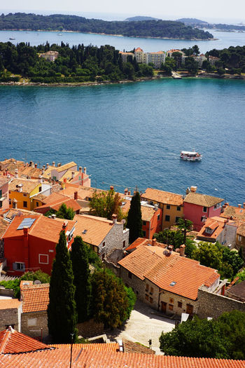 Top view of Rovinj ,Croatia Architecture Water Building Exterior Built Structure Tree Plant Nature Building No People High Angle View Day Residential District Roof Lake City Outdoors Sky House TOWNSCAPE Croatia Orange Rooftop Europe Village Photography Tourism