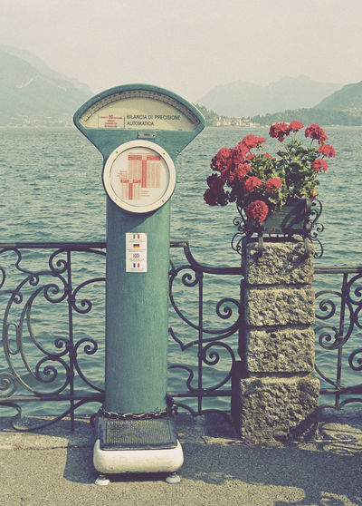 old weighing scale on lakeside, Lake Como, Italy Como Lake Machine Old Fashioned Retro Weighing Scale Coin Operated Flower Flowers Italy Lake Como Lakeside No People Outdoors Retro Styled Vintage Water Weighing
