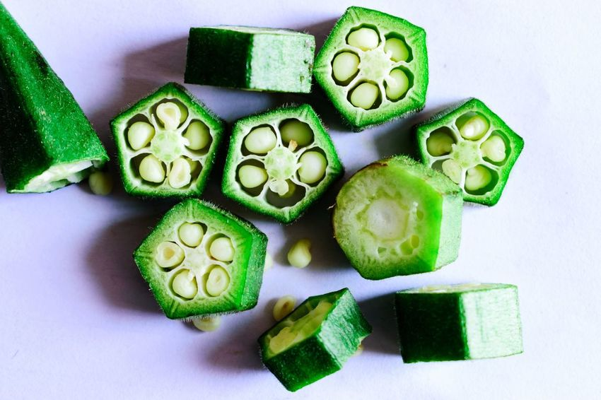 Okra Okra Vegetable Vegan Food Healthy Food Carbohydrates Close-up Green Color Served Raw Raw Food