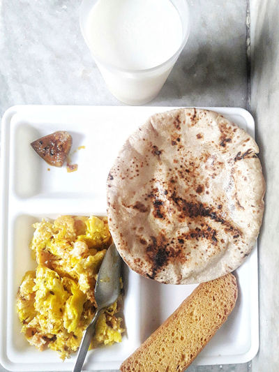 Randomness InMakin! Brunch PhonePhotography Food And Drink Directly Above Scrambledeggs Milk Roti Pickle Rusk Ready-to-eat