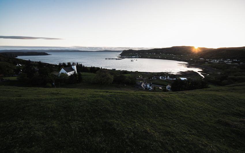Scotland Uig Architecture Bay Grass Horizon Over Water Isle Of Skye Land Outdoors Scenics - Nature Sea Sun Sunset Water
