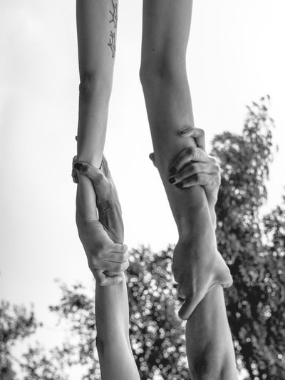 Arms Arms Up Blackandwhite Photography Childhood Close-up Conceptual Photography  Day Fine Art Photography Friendship Girls Holding Hands Human Body Part Human Hand Love Low Angle View Outdoors People Real People Scenics SUPPORT Trust