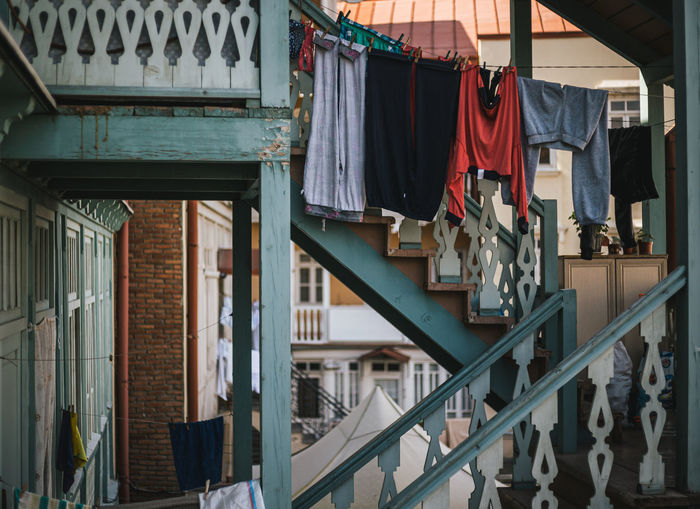Clothes drying outside building