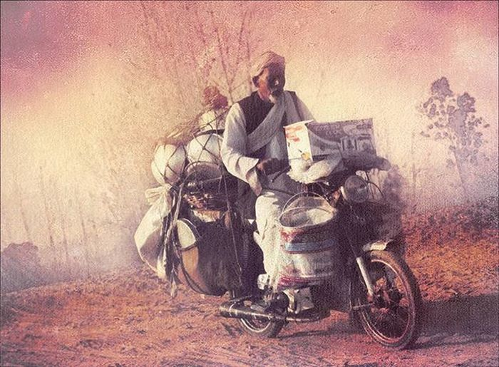 Man riding horse cart