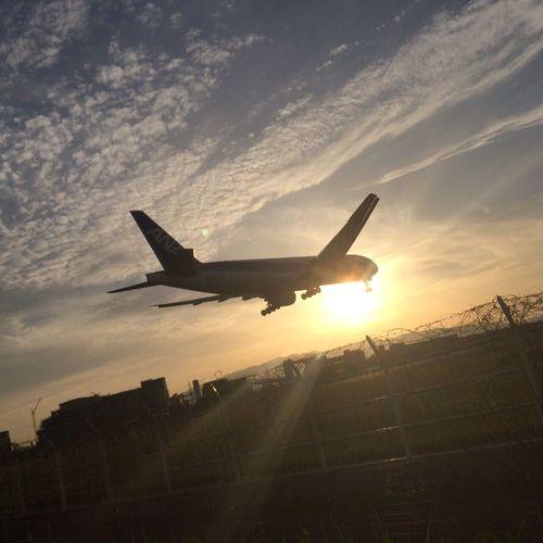 千里川 飛行機 夕陽 First Eyeem Photo