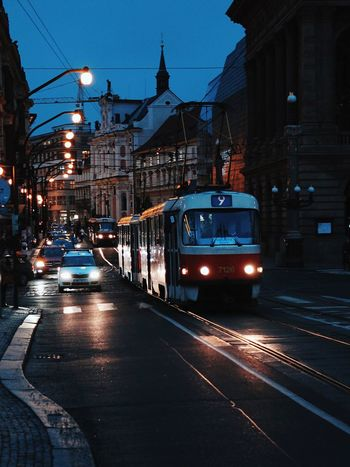 Transportation Illuminated Built Structure Architecture Tram City Lights Prague Prague At Night City Life Building Exterior Car Mode Of Transport Land Vehicle City The Way Forward No People Outdoors Night