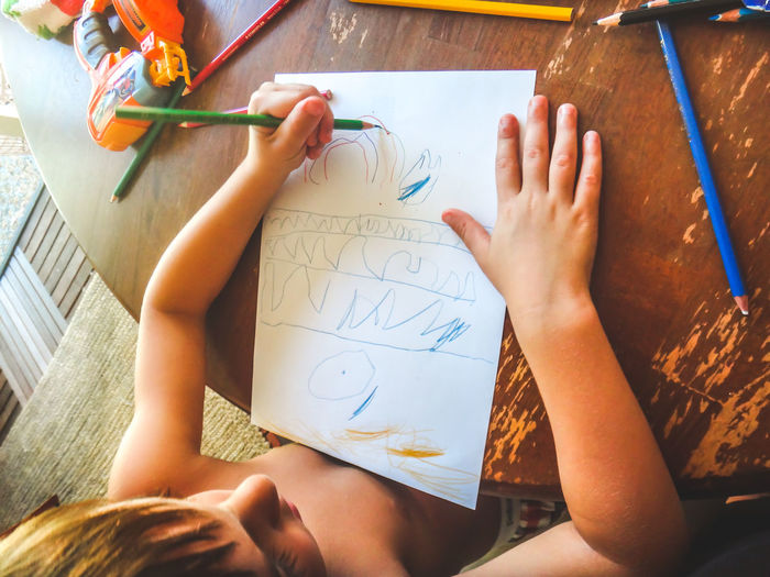 High Angle View Of Boy Drawing On Paper