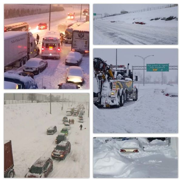 13hrs stranded on The highway! Not my photos...March 2017Winterstorm in Montreal!