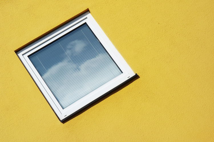 Abstract Day Façade Geometric Shape Minimalism Simplicity Sky And Clouds Window Yellow Paint The Town Yellow