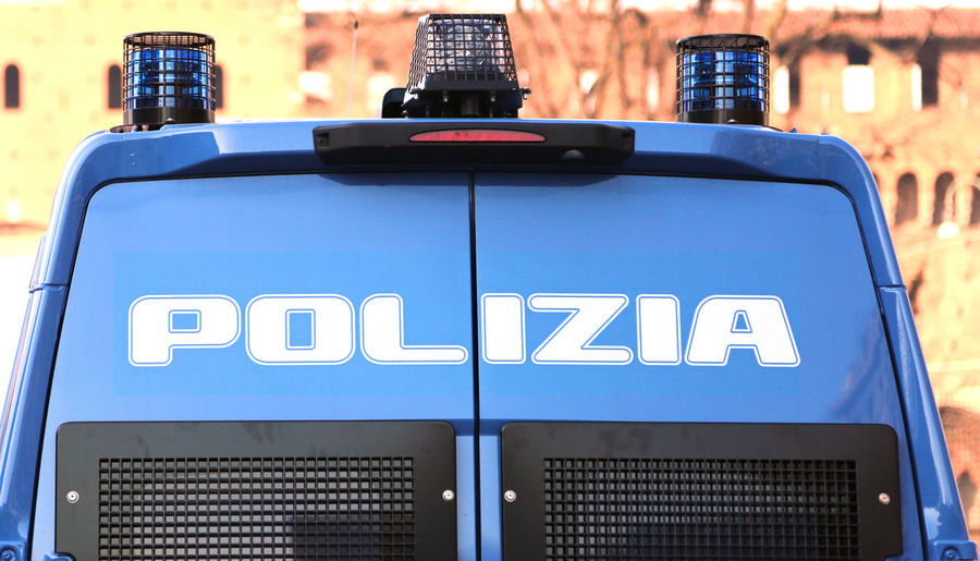 armored car of the Italian police in checkpoint control in the metropolis Crime Milan Rome Sign Text Transport Transportation Verona Antiterrorisme Celere Checkpoint Control Counterterrorism Italiano Italy Polizia Poliziaitaliana Roadblock Siren Surveillance Terrorism Truck Turin Vehicle Written