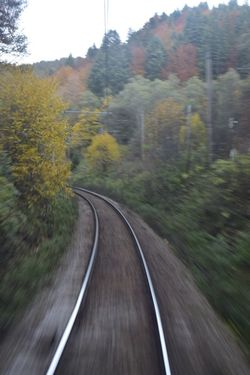 Blurred Motion Rail Transportation Transportation Railroad Track Day Outdoors Motion Nature Sky No People