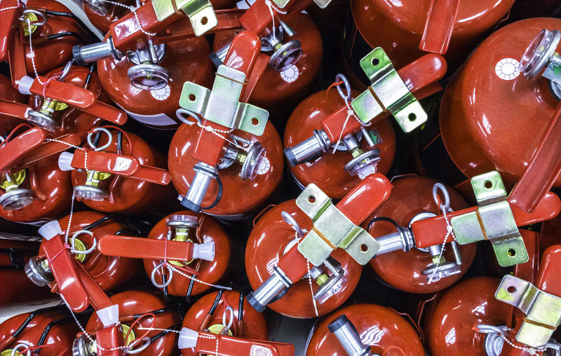 Full Frame Shot Of Fire Extinguishers