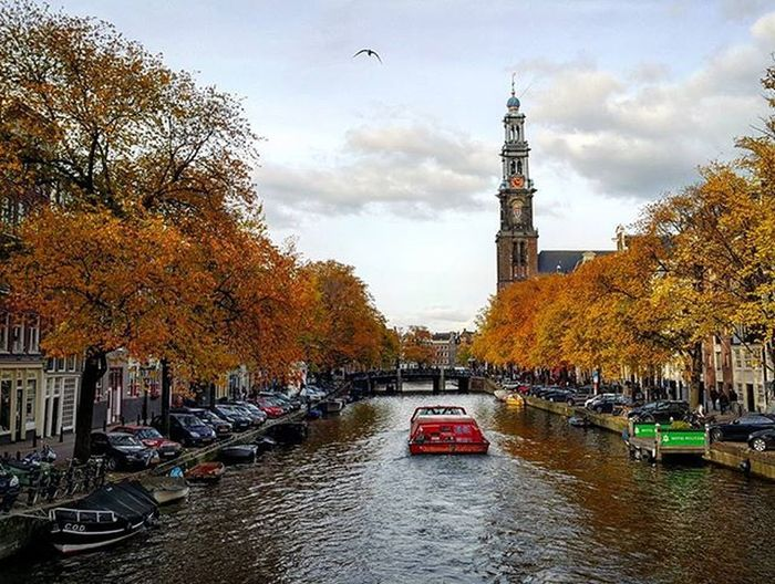 Amsterdam City Day Clouds Sky Building Windows Glass River Ship Boat Church Tower Autumn Orange Yellow Blue Note4