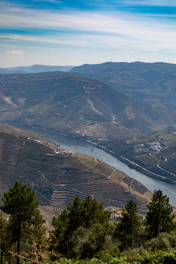 Douro valley landscapes , Portugal Douro  Pattern, Texture, Shape And Form Portugal Beauty In Nature Cloud - Sky Day Environment High Angle View Idyllic Land Landscape Mountain Mountain Range Nature No People Non-urban Scene Outdoors Plant Scenics - Nature Sky Tranquil Scene Tranquility Tree Water