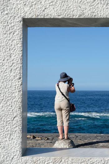 GarachicoTenerife Tenerife Canary Islands Clear Sky Sea Water Full Length Beach Standing Women Blue Summer Watching