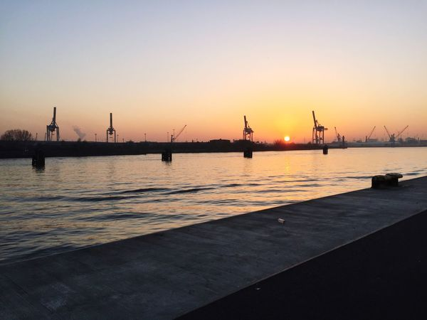 Hamburg Sunset Transportation Water Nautical Vessel Commercial Dock Mode Of Transport Sky