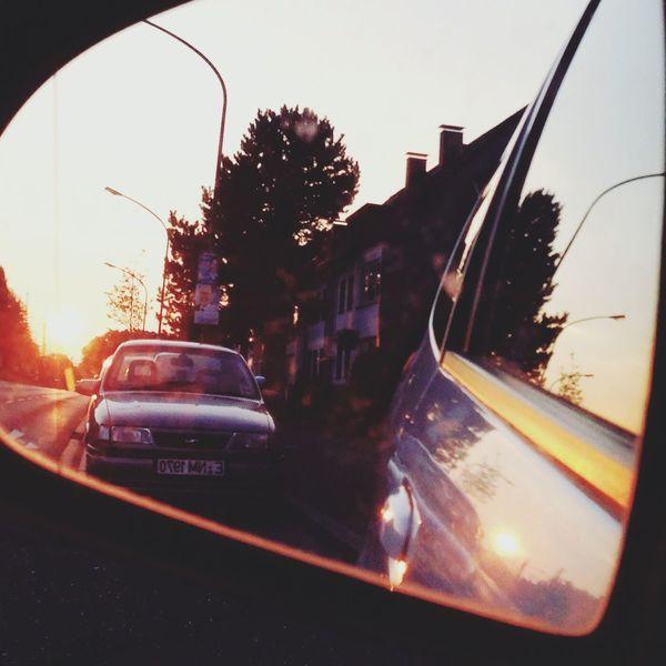 Car Mirror Mirrored Background Backlight Sunset Hello World Sun Sunshine White