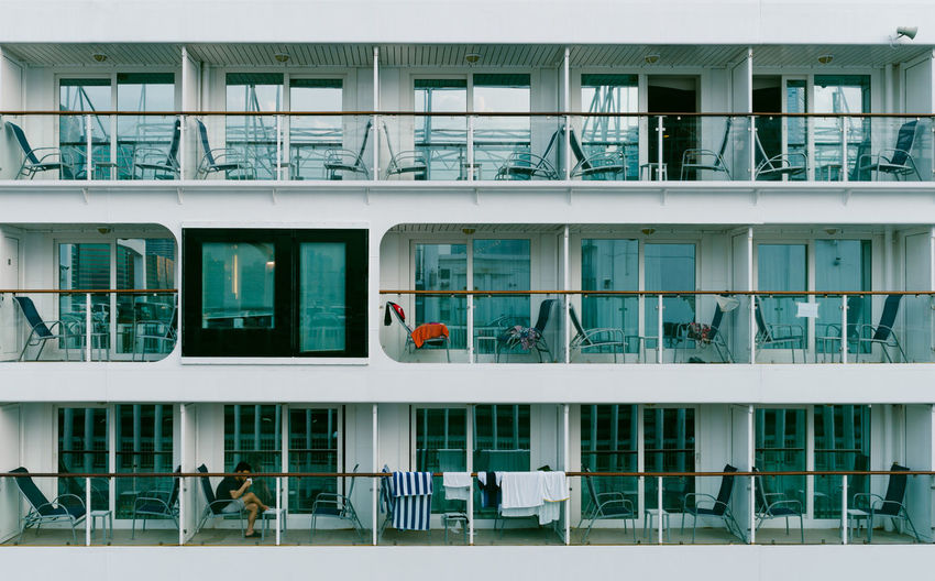 On the Ship Apartment Architecture Backgrounds Balcony Building Built Structure City City Life Day Full Frame Modern No People Outdoors Reflection Repetition Residential Building Side By Side Window