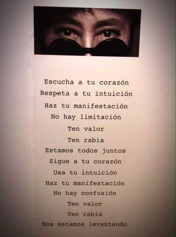 Escucha tu corazón Text People Escencia Intuition Coraje Yoko Ono Performance Tierra De Esperanza Museum Cdmx