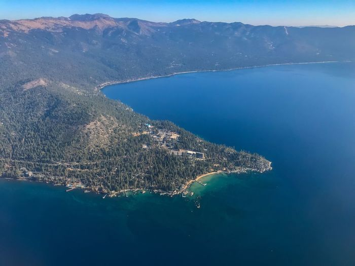 Part in Nevada, part in California. Mountain Lake Crystal Bay Lake Tahoe California Nevada Aerial View Aerial View Of City Aerial Landscape Aerial Photography Aerial Shot Aerial Airplaneview Aviationphotography Sierra Nevada Mountains Sierra Nevada Water High Angle View Aerial View