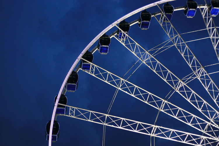 Amusement Park Blue Directly Below Ferris Wheel Low Angle View No People Outdoors Sky