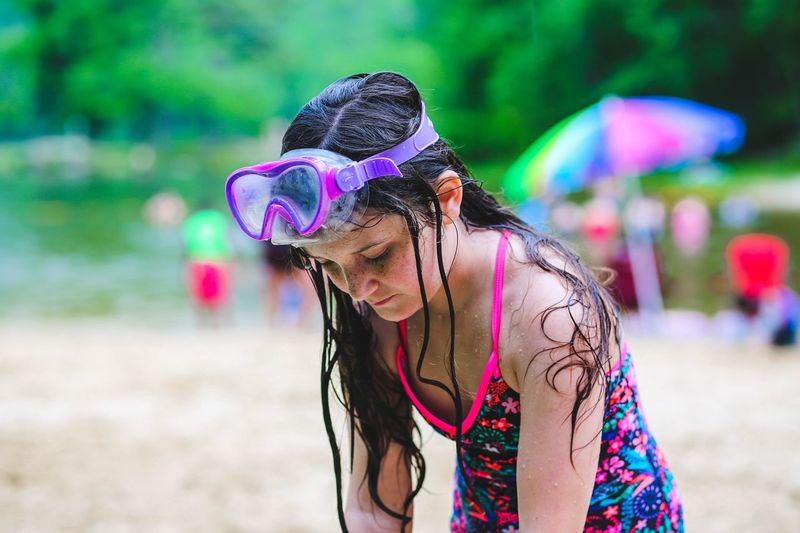 Summer Childhood Wet Swimwear Goggles Land One Person Focus On Foreground Women Lifestyles Day Sand Leisure Activity Portrait Hair Hairstyle Beach Outdoors Nature