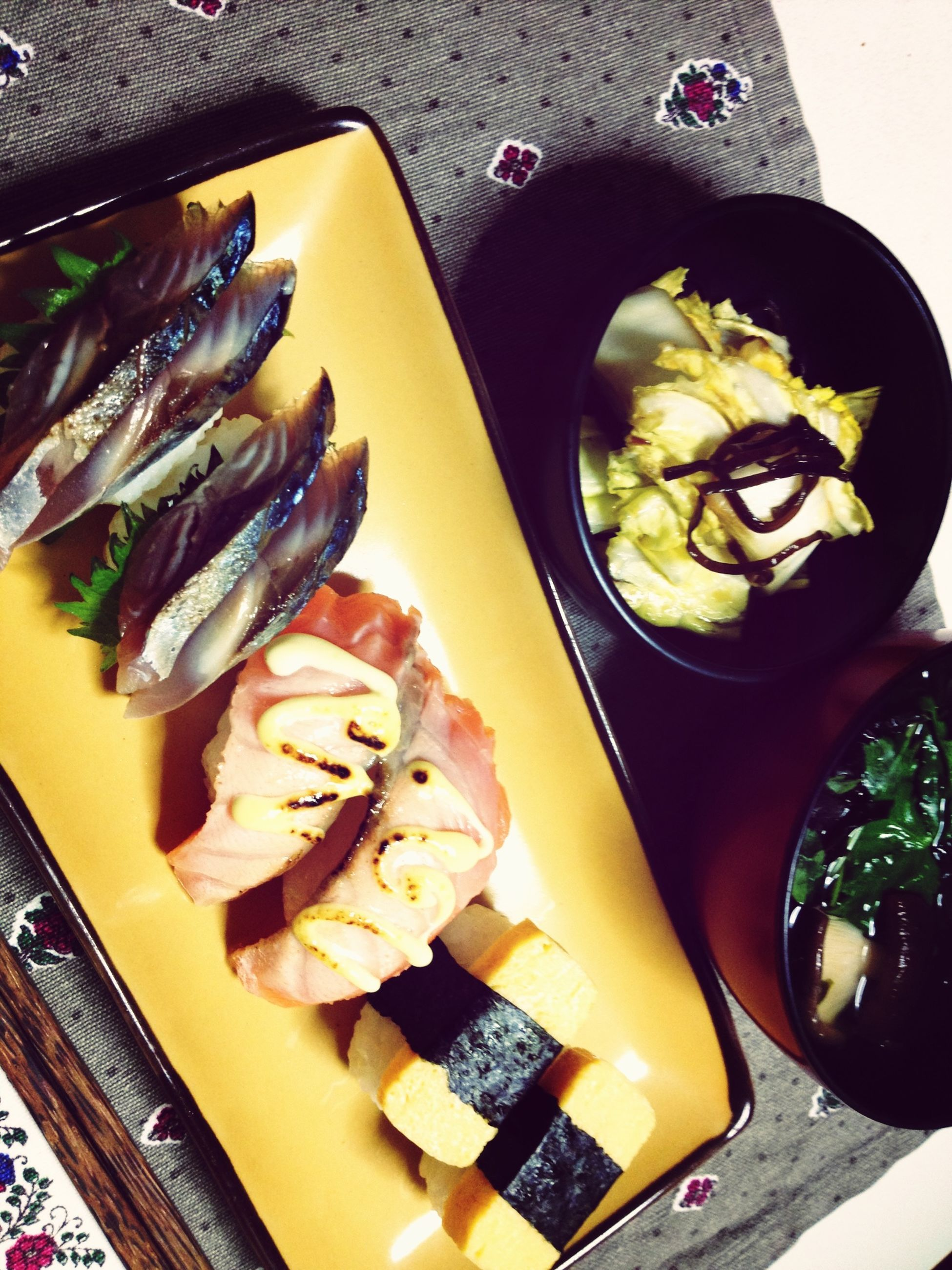 food and drink, food, freshness, indoors, healthy eating, ready-to-eat, still life, plate, high angle view, table, seafood, meal, meat, serving size, vegetable, indulgence, slice, japanese food, variation, close-up
