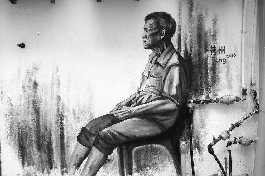 Kluang Wallpaint Oldman Monochrome Malaysia