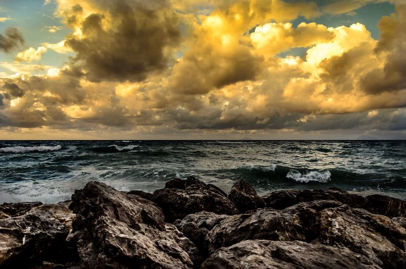 Sea Horizon Over Water Sky Nature Beauty In Nature Water Cloud - Sky Scenics Beach Outdoors Sunset Storm Cloud No People Day Wave