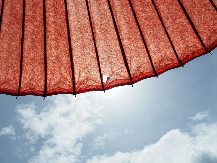 A red parasol and a beautiful blue sky (赤い日傘と綺麗な青空) Ad Beautiful Blue Color Copy Space Nature Red Black Color Close-up Cloud - Sky Landscape Margin Nature No People No Person Nobody Outdoors Parasol Protection Red Shade Sky Sunlight Text Space Umbrella White