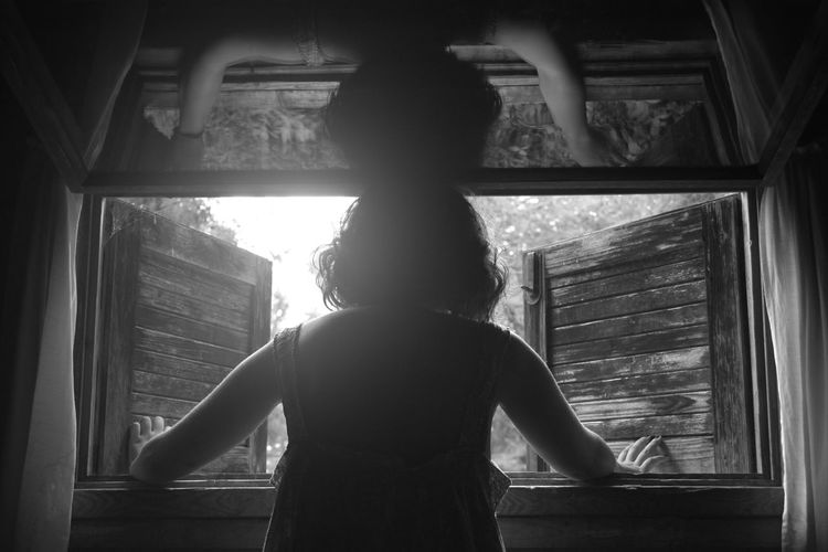 Art Artsy Artsy Photography Black & White Black And White Blackandwhite Blackandwhite Photography Childhood Creative Light And Shadow Curtain Day Girls Indoors  Interesting Leisure Activity Light Light And Shadow Look Mirror One Person People Real People Rear View Standing Window