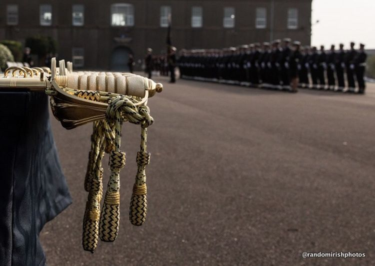 Ceremonial swords ready for the recent officer commissioning at the Irish Naval Base at Haulbowline in Cork Ireland Navy