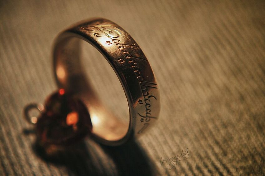 Ring Jewelry Gold Jewel Precious Macro Macro_collection Light And Shadow Objects Lordoftherings The One EyeEm Masterclass Eye4photography  Taking Pictures Close-up Font Letters Selective Focus Antique Old Used Creative Light And Shadow Glitter Just For Fun Macroclique