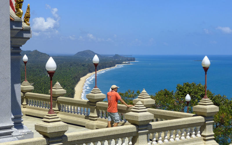 Thang Sai Beach Wat Thang Sai Beach Beauty In Nature Day Full Length Men Nature One Person Outdoors People Railing Real People Scenics Sea Sky Statue Steps Water