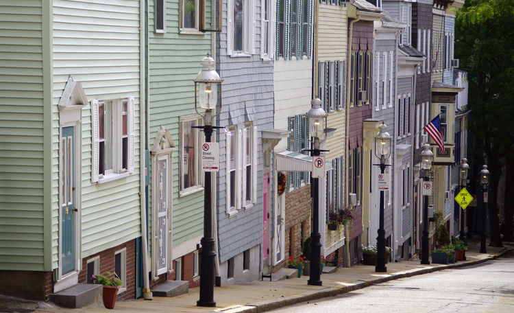 Boston USA Travel Multi Colored Building Exterior Houses No People Compressed Viewpoint Narrow Street Lamp Post Rejuvenation Historic Quarter
