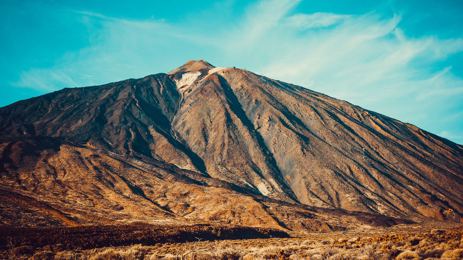 Scenic view of volcanic mountain