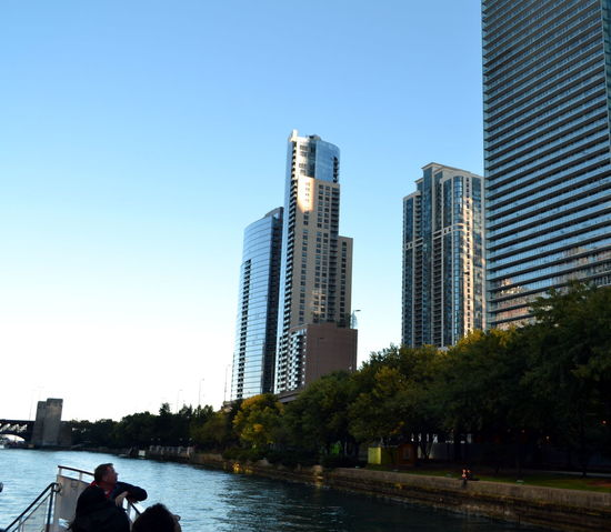 Architecture Blue Boat Ride Building Exterior Built Structure Chicago River City Clear Sky Day Modern Nautical Vessel Outdoors People Sky Skyscraper Summer Tourist Boat Trip Urban Skyline Water