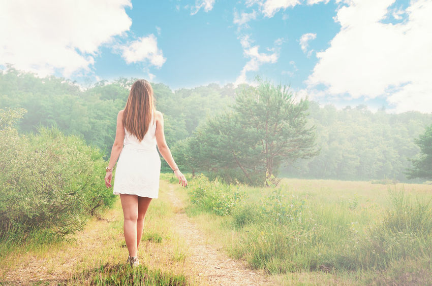 Nature Adult Casual Clothing Cloud - Sky Full Length Hair Hairstyle Land Leisure Activity Life Balance Lifestyles Long Hair Nature One Person Outdoors Plant Real People Rear View Sky Standing Tree Wahnerheide Women Young Adult Young Women