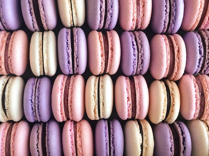 Full frame shot of colorful macaroons