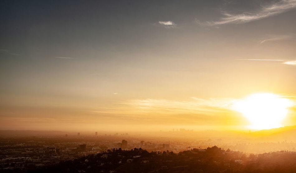 The LA Series / 35mm / Canon 5d Sky Cloud - Sky Building Exterior Sunset Architecture Sun Cityscape City Built Structure Sunlight Nature Scenics - Nature Beauty In Nature No People Landscape Environment Silhouette Sunbeam Orange Color Building Outdoors Lens Flare Bright Brightly Lit Los Angeles, California