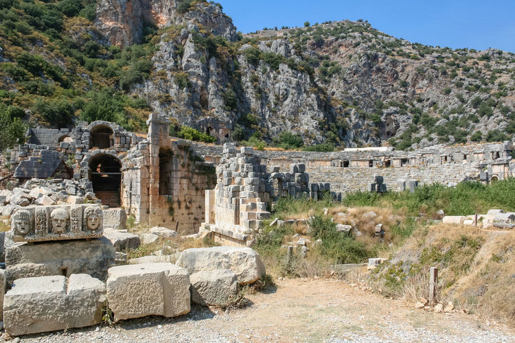 Lycian Amphitheater in Myra, Turkey, Demre Demre Turkey Turkey. Demre UNESCO World Heritage Site Ancient Ancient Civilization Ancient History Archaeology Architecture Built Structure Day History Mountain No People Old Ruin Outdoors Rock Ruined Stone Material Tourism Travel Travel Destinations