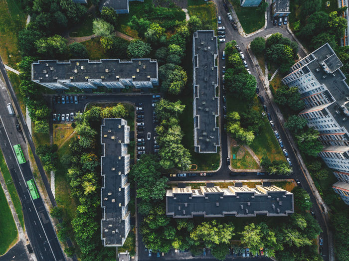 DJI X Eyeem Lietuva Lithuania Architecture Building Building Exterior Built Structure City City Life Cityscape Communication Day High Angle View Kaunas Mode Of Transportation No People Outdoors Plant Rail Transportation Road Sign Street Text Transportation Tree